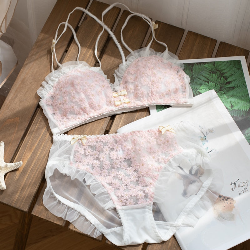 Floral Lace & Ruffles Spring Nymphet Girly Lolita Lingerie Set