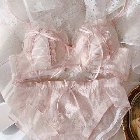 Soft Girl Lace Kawaii Princess Nymphet Lolita Lingerie Set