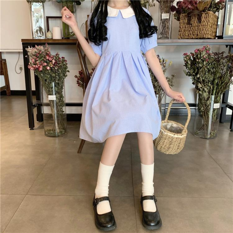 Dorothy Blue Pleated Kawaii Girl Sweet Lolita Dolly Dress