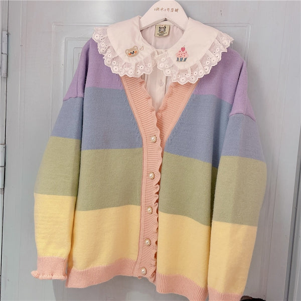 Pastel Kawaii Aesthetic Rainbow Cardigan Sweater
