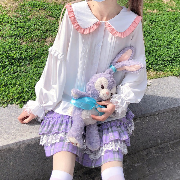 Kawaii Aesthetic Bunny Collar Kawaii Lolita Shirt
