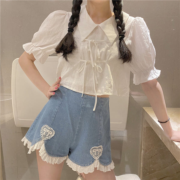 Kawaii Heart Sweet High Waist Denim Shorts