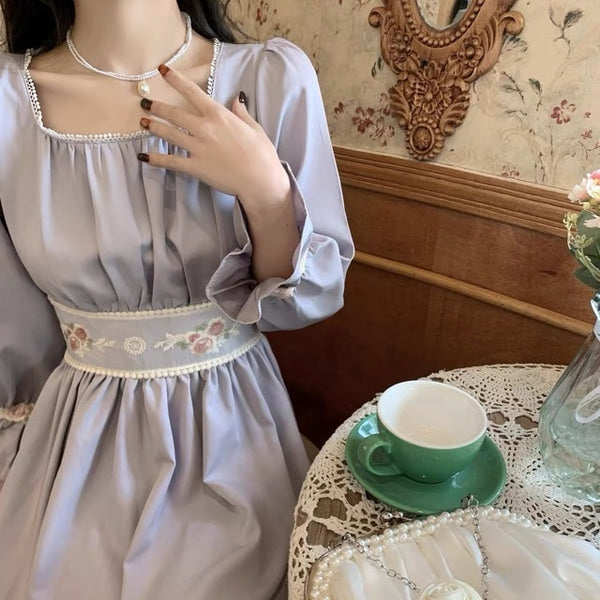 Lilac Soft-Violet Vintage-Aesthetic Cottage Dress