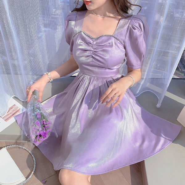 Princess Party Lilac Satin Summer Kawaii Fairy Dress