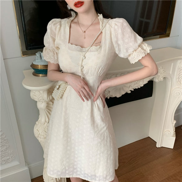 Yasmine Vintage-style Lace Summer Mini Dress