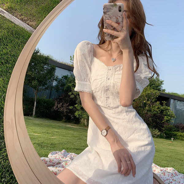 Vanillawhite Lace Vintage-Style Mini Dress