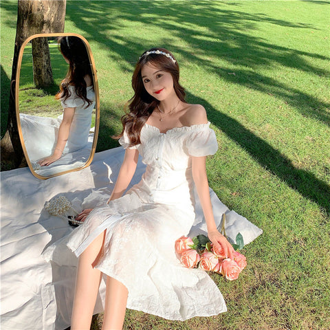 Iris White Lace Cottage Fairy Dress