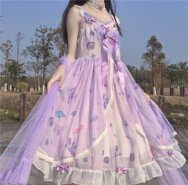 Sweet Bloom Pastel Purple Dreamy Kawaii Princess JSK Lolita Dress