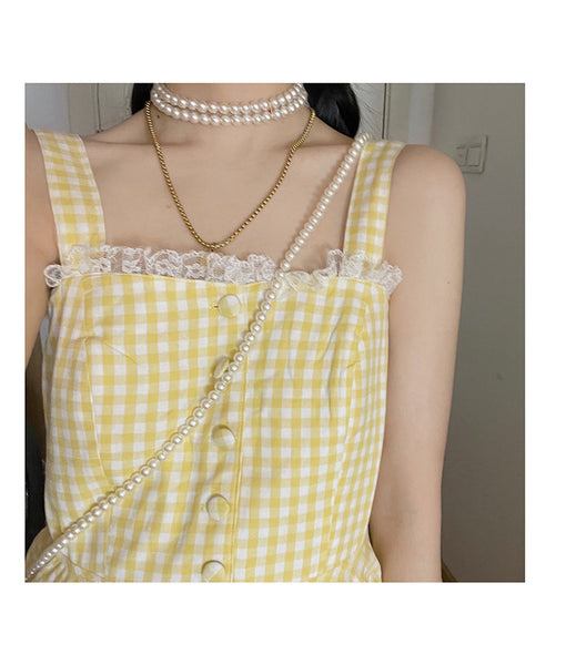 Sunmeadow Plaid Yellow Kawaii Dolly Summer Picnic Dress