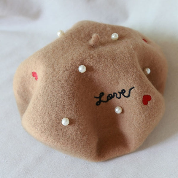 Pearl Embroidered Wool Beret