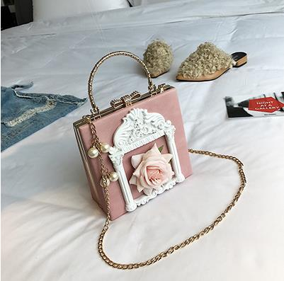 Aesthetic Rose Bag with Pearls