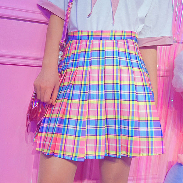 Pastel Kawaii Aesthetic Plaid Pleated Rainbow Mini Skirt