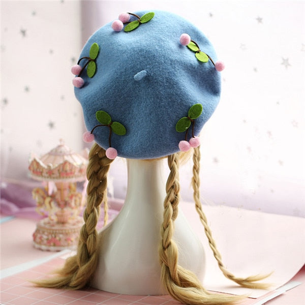 Kawaii Cherry Wool Lolita Beret