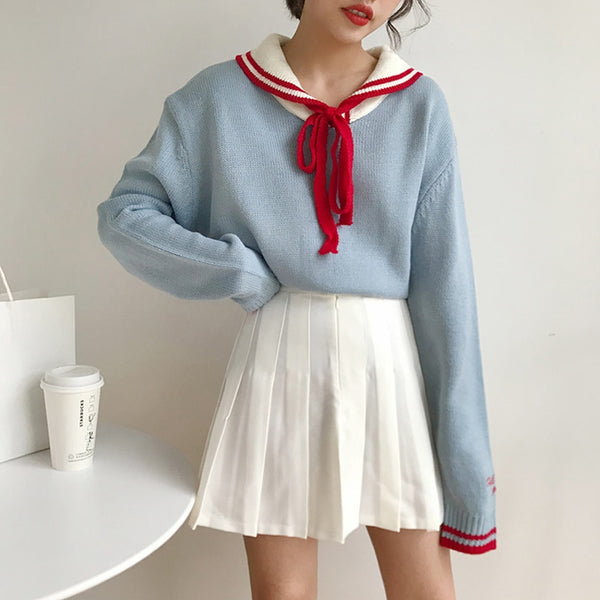 Sailor Crew Neck Kawaii Long Sleeve Sweater