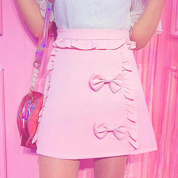 Pastel Kawaii Aesthetic Kawaii Bow Mini Skirt