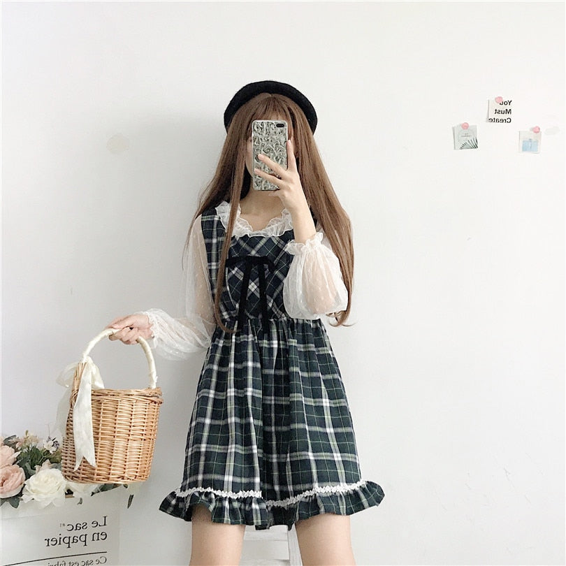 Alina Plaid Kawaii Lolita Mini Dress