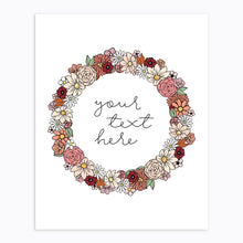 Load image into Gallery viewer, Art-Print-Floral Wreath-Custom-text-Fall Neutral Tone