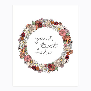Art-Print-Floral Wreath-Custom-text-Fall Neutral Tone