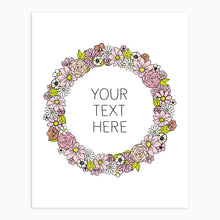 Load image into Gallery viewer, Art-Print-Floral Wreath-Custom-text-Pink-Printable