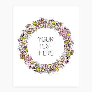 Art-Print-Floral Wreath-Custom-text-Pink-Printable