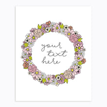 Load image into Gallery viewer, Art-Print-Floral Wreath-Custom-text-Pink