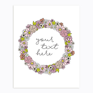 Art-Print-Floral Wreath-Custom-text-Pink