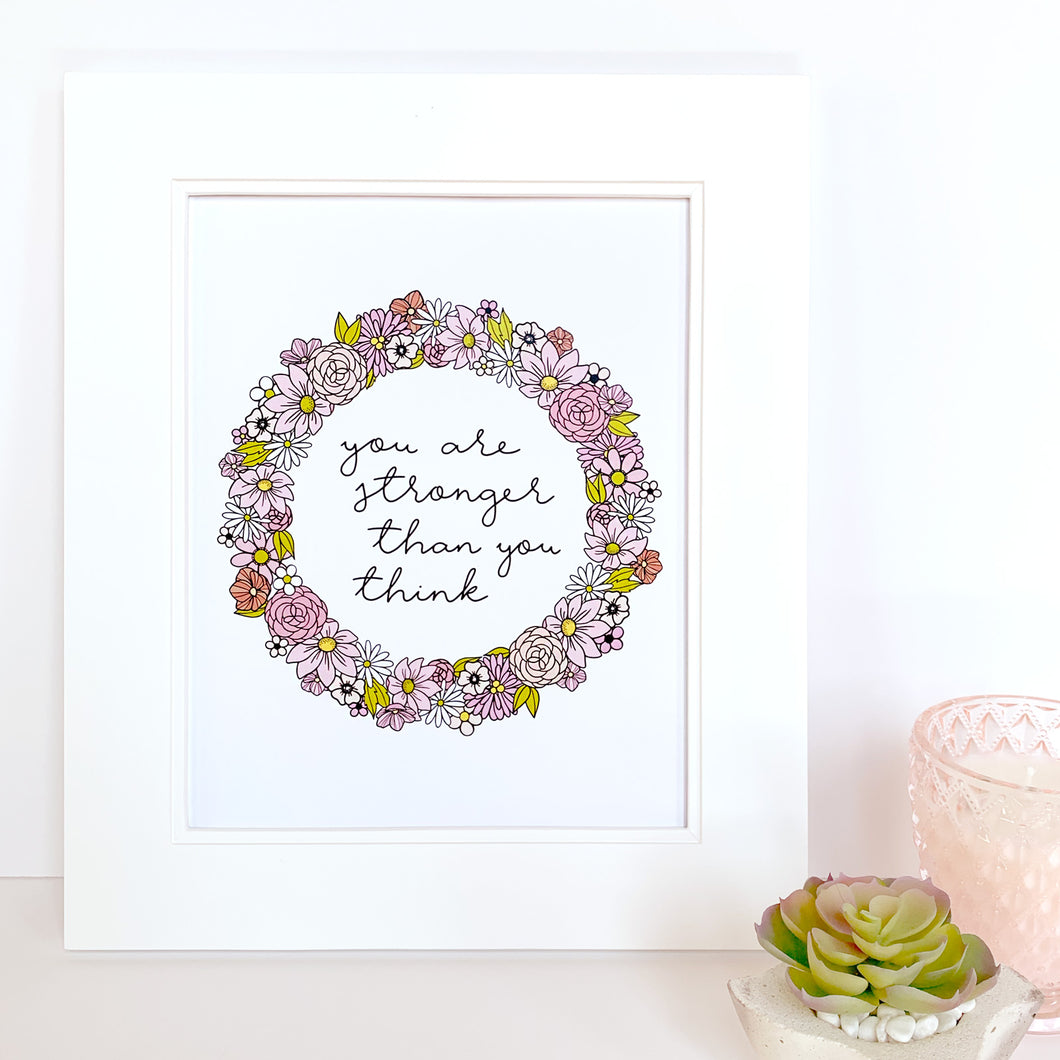 The-Rosy-Redhead-Art-Print-Floral Wreath-Custom-Pink