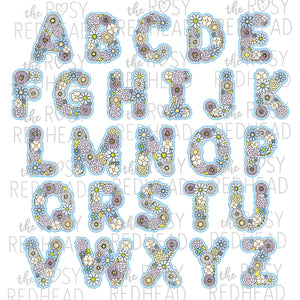 The Rosy Redhead-Floral Alphabet-Blue