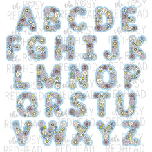 Load image into Gallery viewer, The Rosy Redhead-Floral Alphabet-Blue