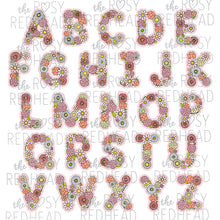 Load image into Gallery viewer, The Rosy Redhead-Floral Alphabet-Pink