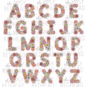 The Rosy Redhead-Floral Alphabet-Pink
