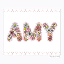 Load image into Gallery viewer, The Rosy Redhead-Art-Floral Alphabet-Custom Print-Pink-Printable
