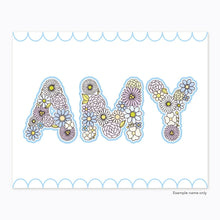 Load image into Gallery viewer, The Rosy Redhead-Art-Floral Alphabet-Custom Print-Blue-Printable