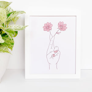 The Rosy Redhead-Fingers Crossed-Flowers-Gallery Wall Print Pink