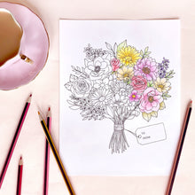Load image into Gallery viewer, The Rosy Redhead Floral Coloring Page