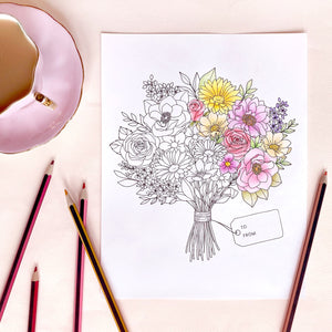 The Rosy Redhead Floral Coloring Page
