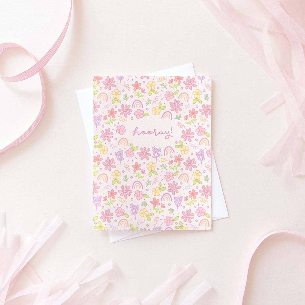 The Rosy Redhead Greeting Card floral hooray fun