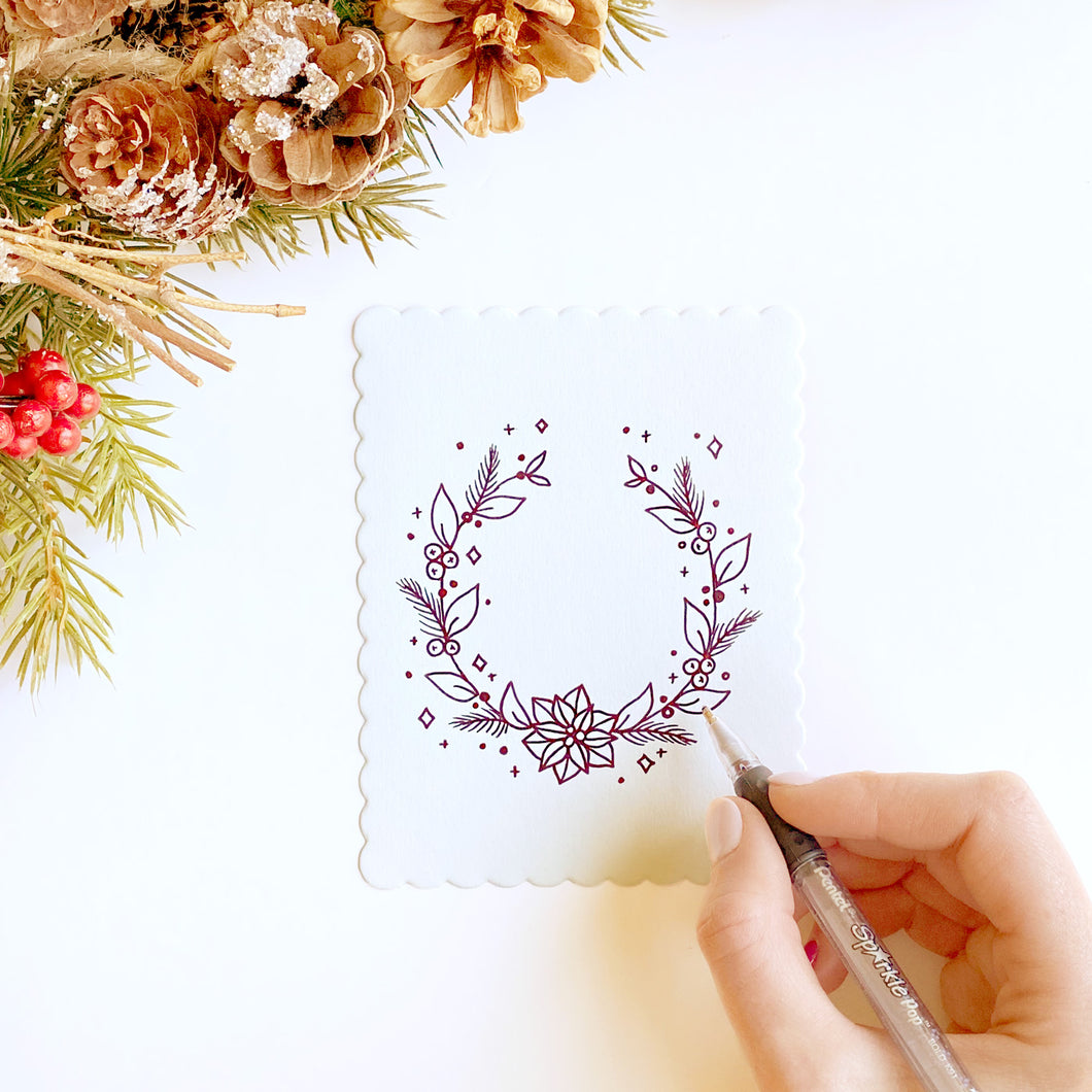 HAND DRAWN CARDS - Holiday Wreath (5 pack)