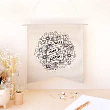 Load image into Gallery viewer, The Rosy Redhead-Hanging Canvas-Floral Bloom Positivity Banner
