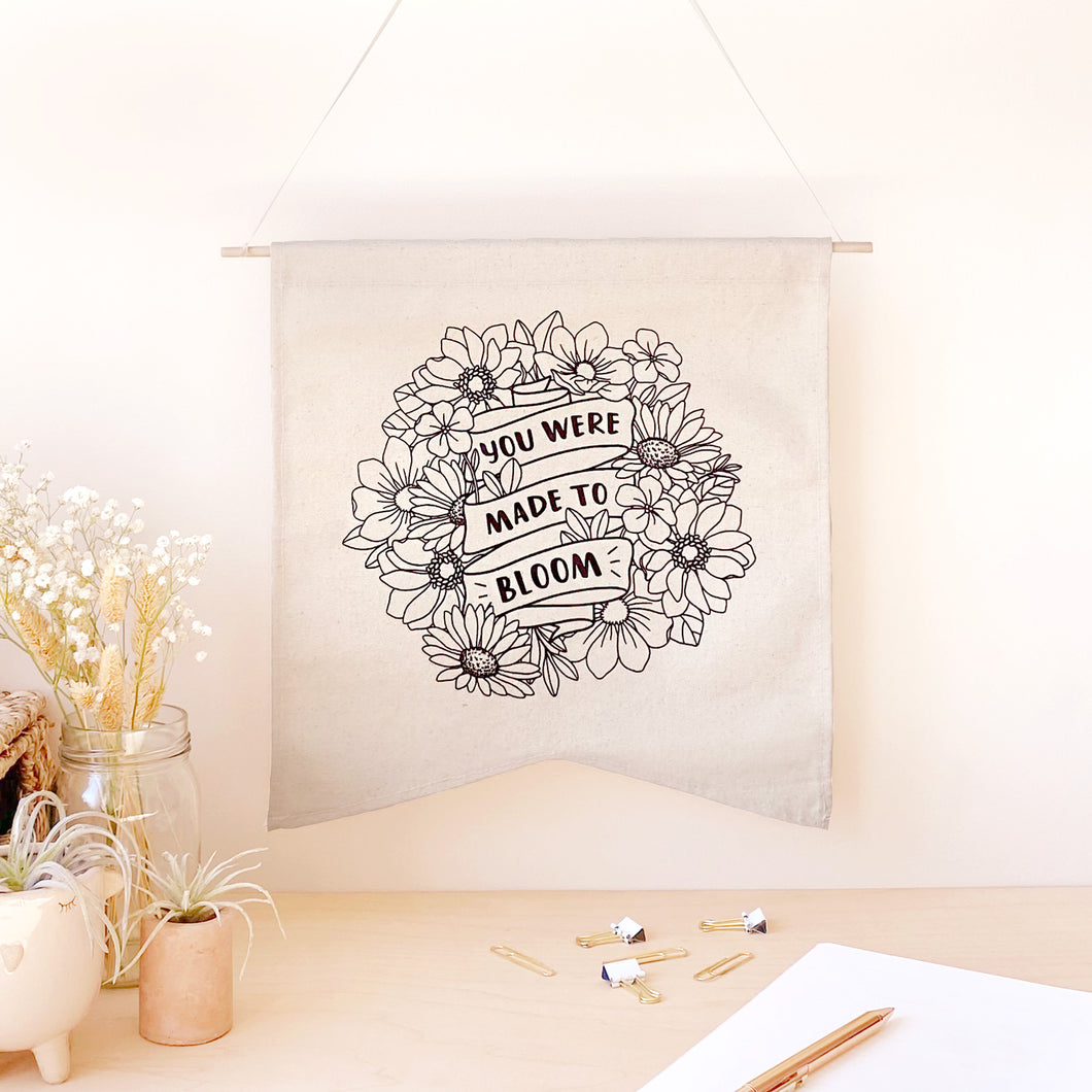 The Rosy Redhead-Hanging Canvas-Floral Bloom Positivity Banner