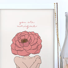 Load image into Gallery viewer, The Rosy Redhead-Self Love-Floral art-Gallery Wall Print