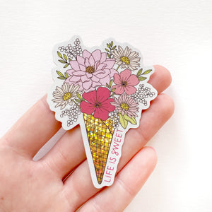 The Rosy Redhead-Ice Cream Flowers Sweet-Waterproof Floral Sticker