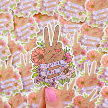 Load image into Gallery viewer, The Rosy Redhead-Positive Vibes-Waterproof Floral Sticker