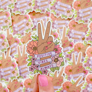 The Rosy Redhead-Positive Vibes-Waterproof Floral Sticker