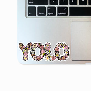 The Rosy Redhead-Waterproof-laptop Floral sticker-YOLO