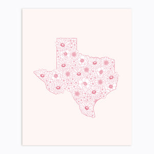 The Rosy Redhead-Art Print-Texas-Floral Illustration
