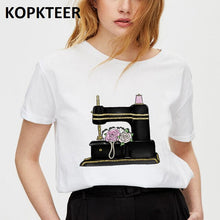 Load image into Gallery viewer, Tops T-Shirt - Rose and Sewing Machine Vogue