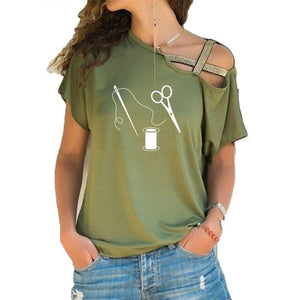 Tops T-Shirt - Scissors Sewing Tailor Fashion - Short irregular sleeve