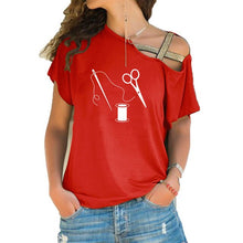 Load image into Gallery viewer, Tops T-Shirt - Scissors Sewing Tailor Fashion - Short irregular sleeve
