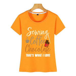 Tops T-Shirt  - Sewing, Coffee and Chocolate